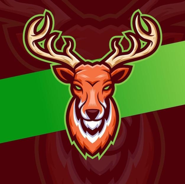 Esport-logo-design des weißen königshirschmaskottchens mit krone für spiel- und sportlogo und illustration