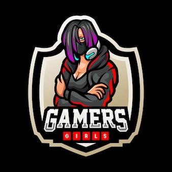 Esport-logo-design für mädchen-gamer-maskottchen