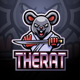 Esport-logo-maskottchen der ratte Premium Vektoren