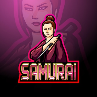 Esport-logo-maskottchen für samurai-mädchen