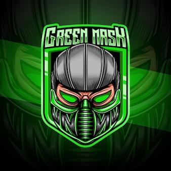 Esport-logo mit grüner maske