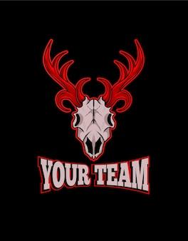 Esport-logo mit hirschschädelkopf