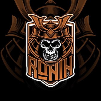 Esport logo mit kopf ronin caracter symbol