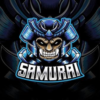 Esport-logo mit kopf-samurai-charakter