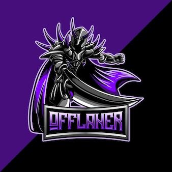 Esport-logo mit offaner dunklem krieger-maskottchen