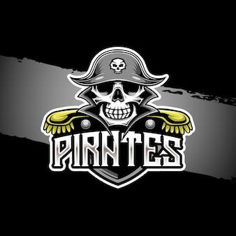 Esport-logo mit piraten-charaktersymbol