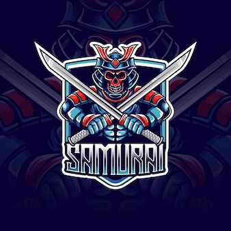 Esport logo mit samurai caracter icon