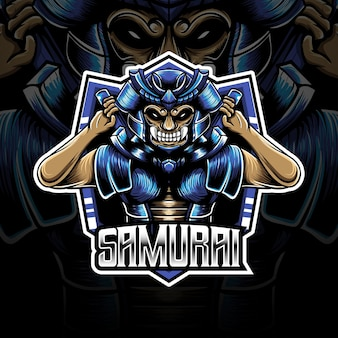 Esport-logo mit samurai-charakter