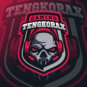 Esport-logo mit totenkopf-maskottchen