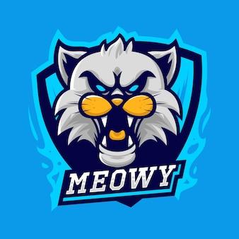 Esport-logo-vektorillustration der weißen katze