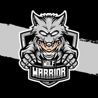 Esport logo wolf krieger charaktersymbol
