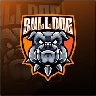 Esport-maskottchen-logo des bulldoggen-kopfes