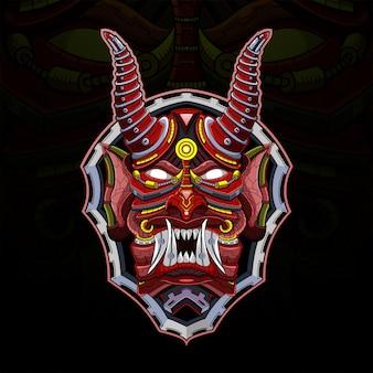 Esport maskottchen-logo des teufelsroboterkopfes