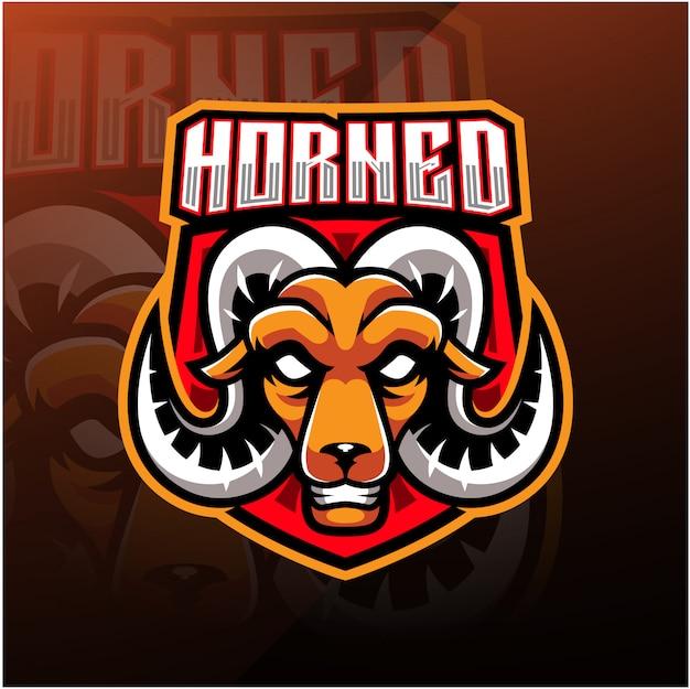 Esport-maskottchen-logo mit ziegenkopf