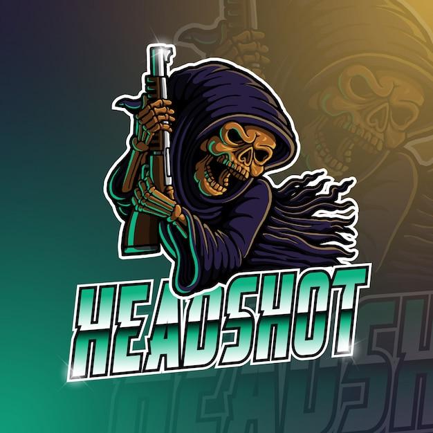 Esport maskottchen logo sensenmann