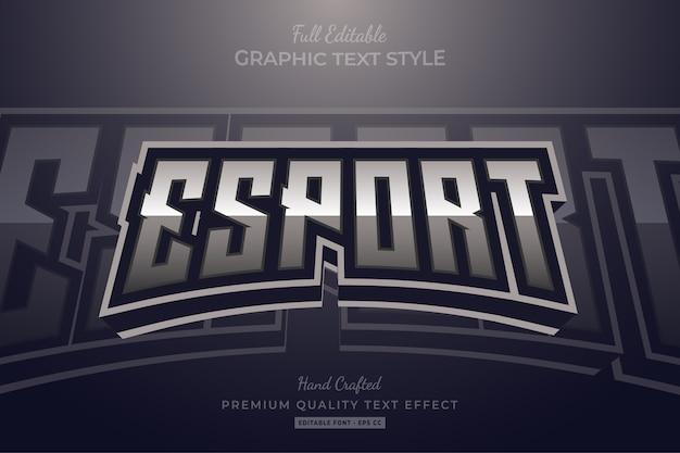 Esport silver editable premium text style-effekt