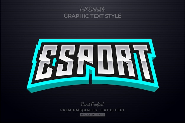Esport turquoise editable text style-effekt
