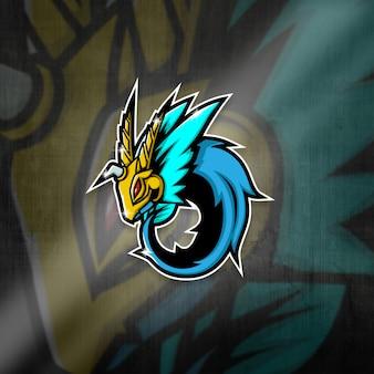 Esports maskottchen logo team blue dragon squad
