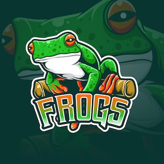 Espot logo frosch charakter symbol Premium Vektoren