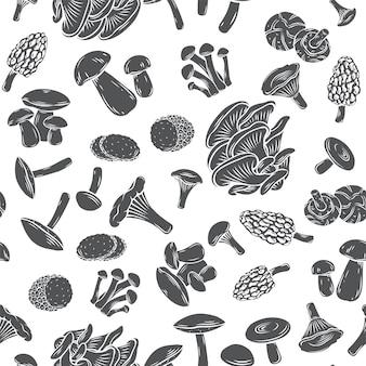 Essbare pilze nahtloses muster monochrome glyphe im gravierten stil