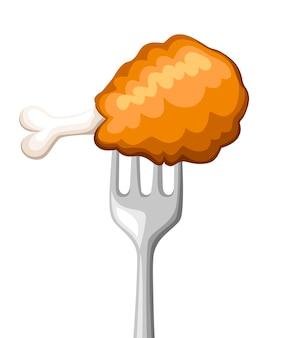 Essen auf gabel. brathähnchen auf edelstahlgabel. tempura, teig, fast food. illustration auf weißem hintergrund.