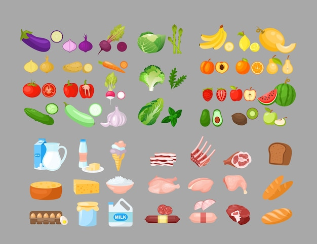 Essen cartoon illustrationen gesetzt. obst, gemüse, backwaren, milchprodukte und fleischprodukte. lebensmittel isolierte cliparts pack. gutes ernährungskonzept. lebensmittelgeschäft, supermarktsortiment.