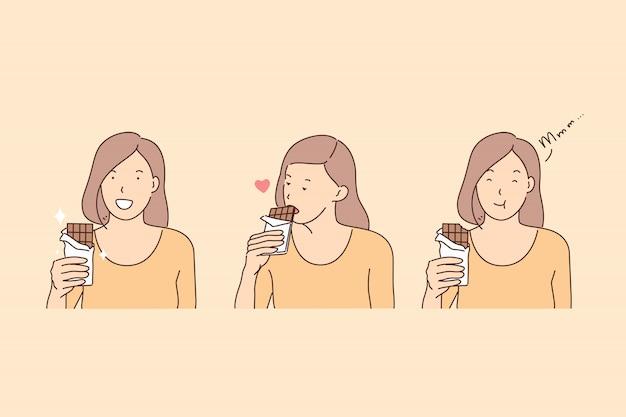 Essen der schokolade, des glückhormons, der endorphinproduktionsillustration