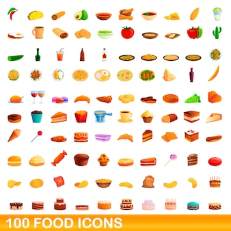 Essen icons set, cartoon-stil