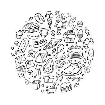 Essen im doodle-stil
