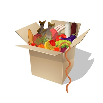 Essen im karton. lebensmittellieferservice. vektor-flache cartoon-illustration