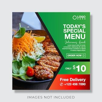 Essen kulinarische menü banner für social media post vorlage