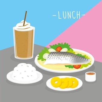 Essen mahlzeit mittagessen milchprodukte essen trinken menü restaurant vektor