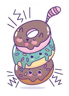 Essen niedlichen fröhlichen haufen von donuts zeichen cartoon