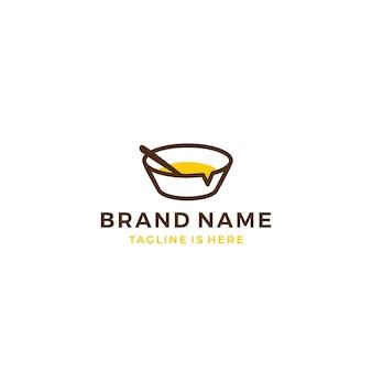 Essen-schüssel-chat-sprechblase social-media-vektor-symbol-logo-vorlage