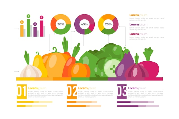 Essen sie eine regenbogen-infografik-vorlage