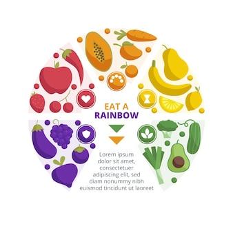 Essen sie einen regenbogen-infografik-stil Kostenlosen Vektoren