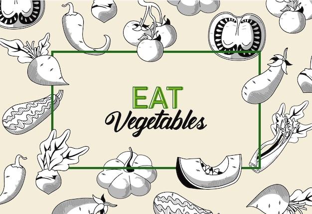 Essen sie gemüseschrift mit gesundem essen im quadratischen rahmen