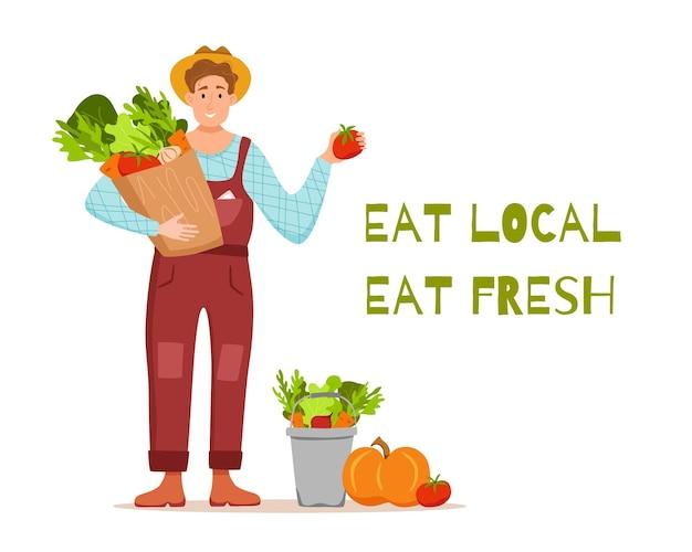 Essen sie lokale bio-produkte cartoon. glücklicher bauer, der paket mit angebautem gemüse hält.
