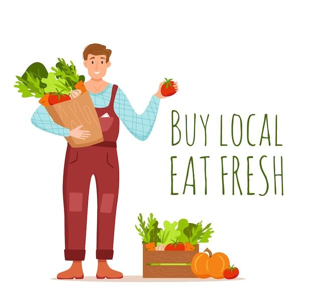 Essen sie lokale bio-produkte cartoon-vektor-konzept. bunte illustration von glücklichen bauerncharaktermännern, die paket mit angebautem gemüse halten. ökologisches marktdesign für den verkauf landwirtschaftlicher produkte