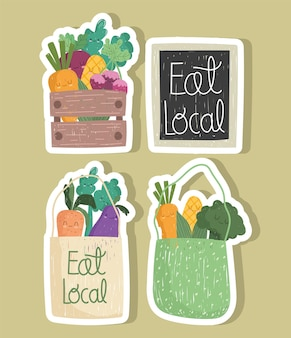 Essen sie lokale markttaschen mit lebensmittelgemüse im aufkleberset