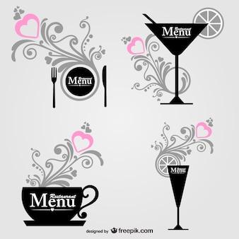Essen und dring dekorative grafische elemente