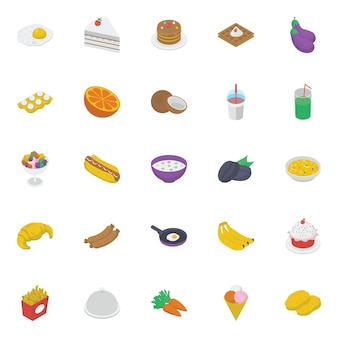 Essen und getränke isometrische icons pack