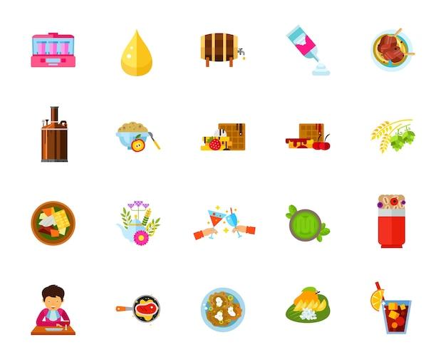 Essen und trinken icon-set
