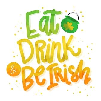 Essen und trinken st. patrick's day schriftzug