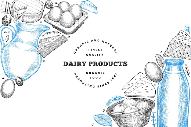 Essen vom bauernhof. handgezeichnete milchprodukte. gravierte art verschiedene milchprodukte und eier