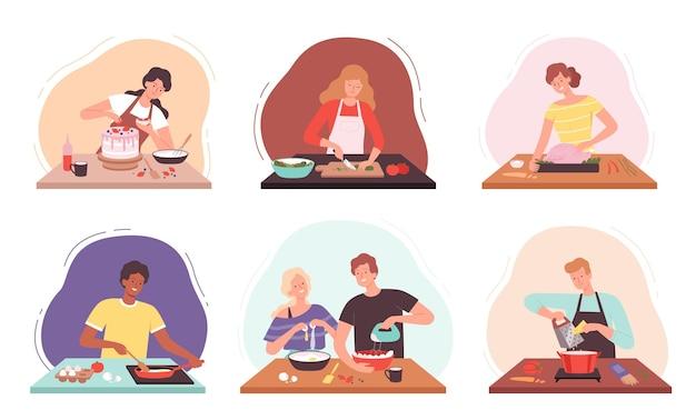 Essen vorbereiten. charaktere, die in der küche kochen, haben glückliche menschen gebacken, professionelle oder familienkoch-vektorillustrationen. illustrationsfrau, die essen kocht und zubereitet