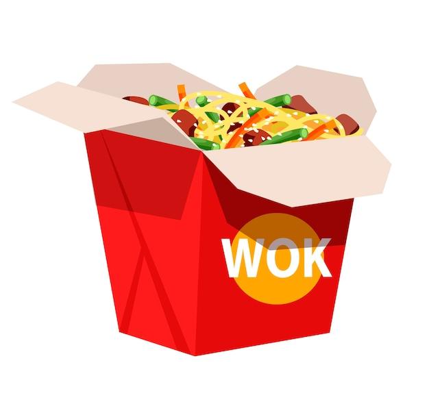 Essen zum mitnehmen des japanischen restaurants, asiatische traditionelle küche, sushi-bar im fast-food-café, geöffnete wok-box mit nudeln, gemüse und fleischstücken