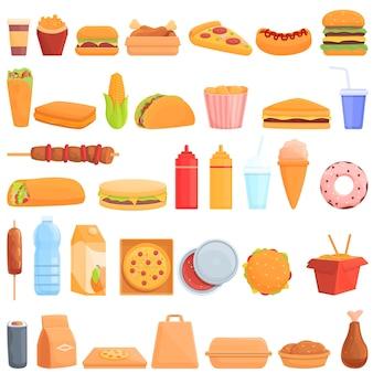 Essen zum mitnehmen symbole gesetzt. karikatursatz lebensmittelvektorikonen zum mitnehmen für webdesign