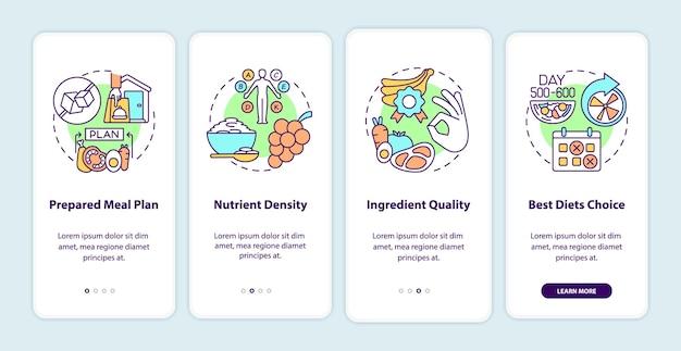 Essenslieferung für diabetiker beim onboarding der mobilen app-seitenseite.