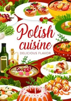Essensplakat der polnischen küche, gerichte und menüs